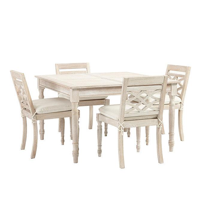 Ceylon Whitewash 5 Piece Square Dining Set Ballard Designs