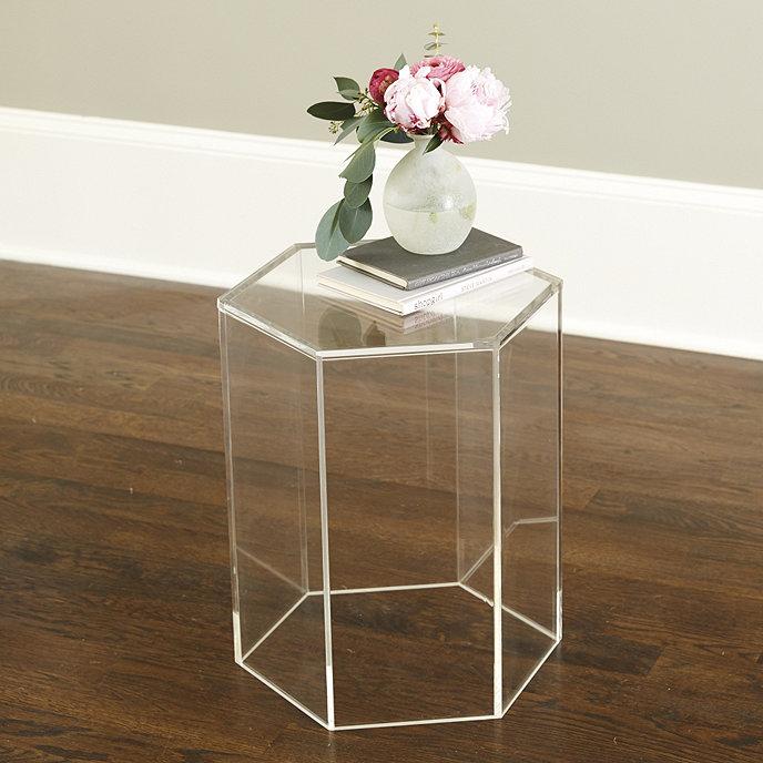 Acrylic Hexagon Side Table Ballard Designs