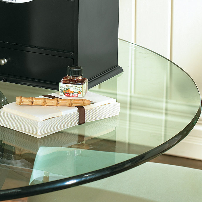 Round Glass Table Tops With Pencil Polished Edge Ballard