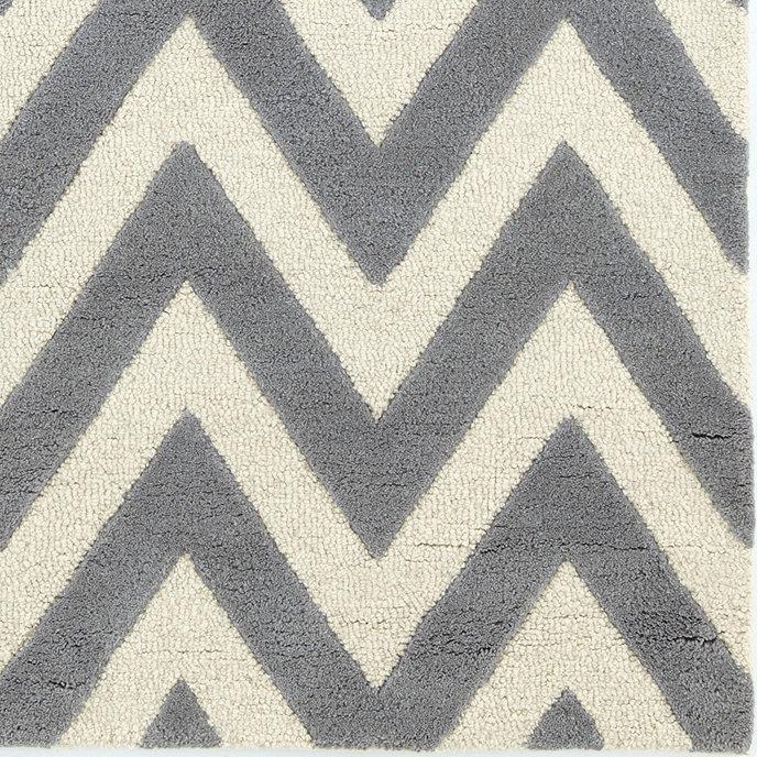 Chevron Stripe Hand Tufted Rug Gray Ballard Designs