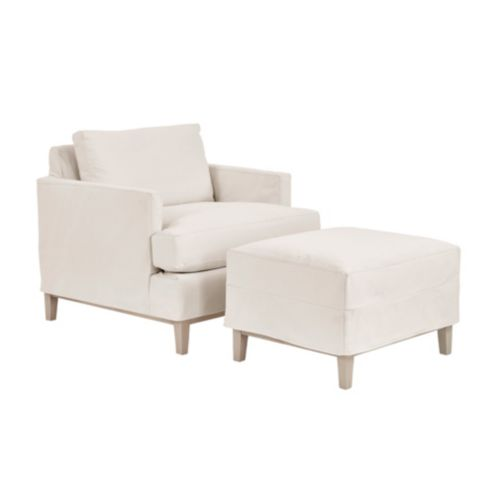 Hartwell Slipcovered Chair and Ottoman