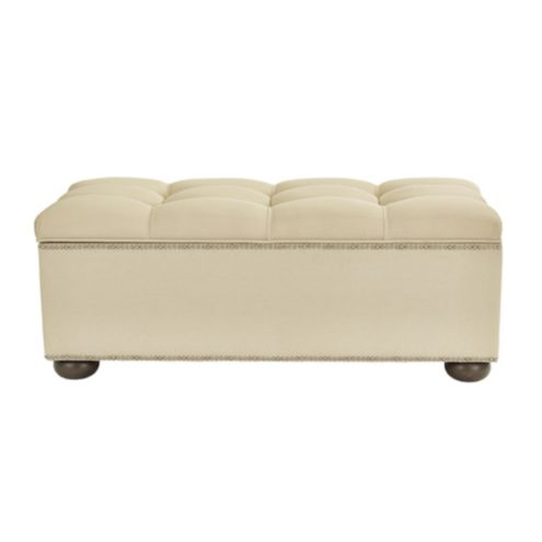 Amelia Tufted Storage Bench with Pewter Nailheads