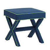 X Bench in Linen Marine Blue with Linen Green Welt - Stocked