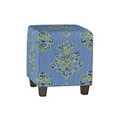 Cooper Upholstered Cube in Elize Cornflower with Driftwood Finish - Stocked