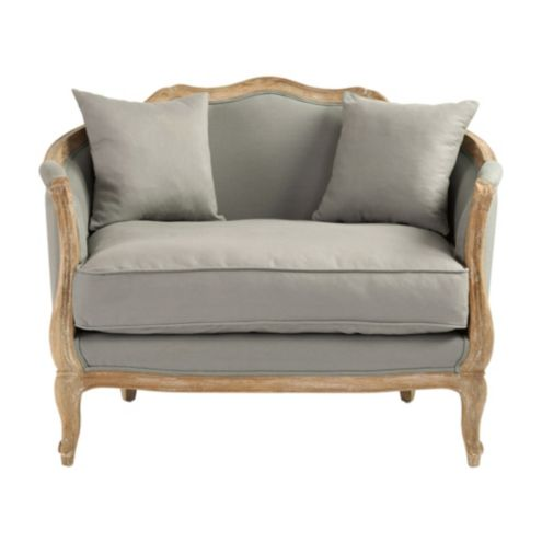 Sofia Upholstered Cuddle Chair - Stocked Gray Flaxen