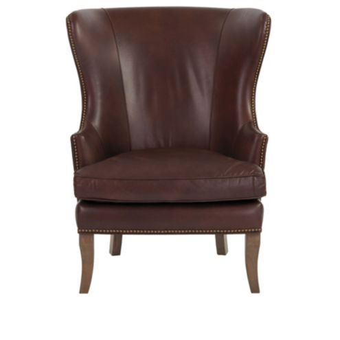 Thurston Leather Wingback Chair With Nailhead Trim