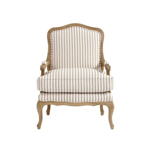 Louisa Upholstered Bergere Chair in Vintage Ticking Stripe