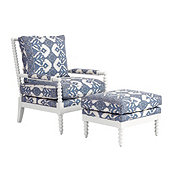 Shiloh Spool Chair & Ottoman in Mallory Blue with White Frame - Stocked