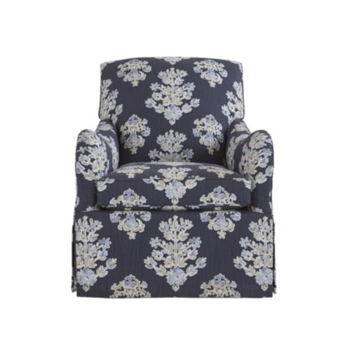 Elsie Swivel Glider Club Chair in Eliza Navy
