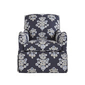 Elsie Swivel Glider Club Chair in Eliza Navy - Stocked