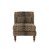 Leyland Armless Chair In Leopard Skin Safari Sunbrella Performance with Dirftwood - Stocked