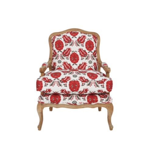 Louisa Upholstered Bergere Chair in Holly Red