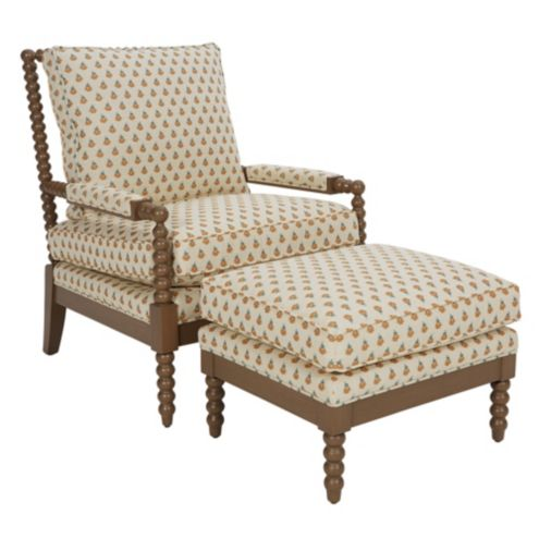 Shiloh Spool Chair and Ottoman in Pippa Golden