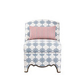Amal Slipper Chair with Larissa Blue Welt, Pique Denim Sunbrella® with Brass Nailheads and Presidio Rose Pillow - Stocked
