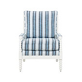 Shiloh Spool Chair in Hamptons Blue Sunbrella Performance and  White Finish - Stocked