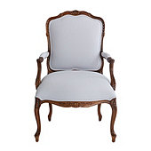Limited Edition Louis Salon Chair in Suzanne Kasler Signature Duck Fog with Brown Finish