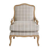 Limited Edition Louisa Bergere Chair in Daisy Windowpane Gray with Limed Oak Finish