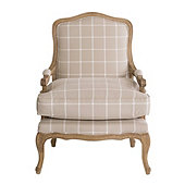 Limited Edition Louisa Bergere Chair in Daisy Windowpane Natural with Limed Oak Finish