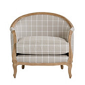 Limited Edition Sofia Chair Daisy Windowpane Gray with Limed Oak Finish