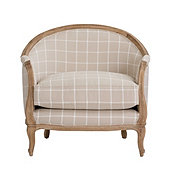 Limited Edition Sofia Chair Daisy Windowpane Natural with Limed Oak Finish