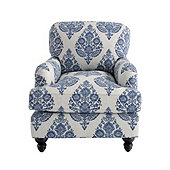 Eton Club Chair in Kavi Blue with Walnut Finish - Stocked