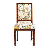 Square Back Louis XVI Side Chair in Sawyer Yellow and Deep Walnut Finish - Stocked