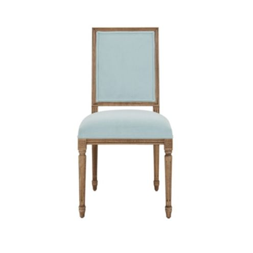 Louis XVI Square Chair In Performance Velevet Mist