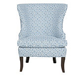 Thurston Wing Chair in Karan Blue with Driftwood - Stocked