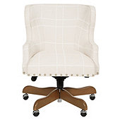 Suzanne Kasler Carson Desk Chair In Stamford  Birch with Pewter Nailheads and Weathered Finish - Stocked