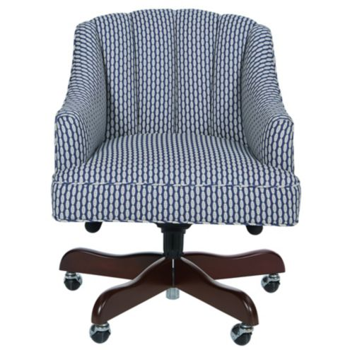 Holly Desk Chair In Bria Blue with Chestnut