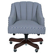 Holly Desk Chair In Bria Blue with Chestnut Finish - Stocked