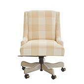 Gramercy Desk Chair in Buffalo Check Wheat with Dove Gray - Stocked