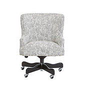 Suzanne Kasler Carson Desk Chair in Lucette Classic and Pewter Nailheads with Black Finish - Stocked
