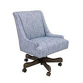 Gramercy Desk Chair in Biff Indigo InsideOut® Performance with Chestnut finish