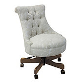 Elle Tufted Desk Chair in Cara White InsideOut® Performance w/ Chestnut Finish