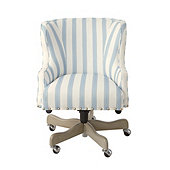 Suzanne Kasler Carson Desk Chair in SK Reine Blue with Pewter Nailheads and Dove Gray Finish
