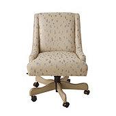 Gramercy Desk Chair in Cleo Glacier with Dove Gray Finish