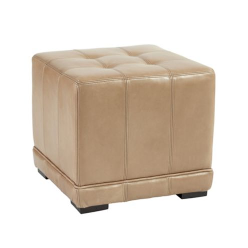 Leather Cube Ottoman - Moss