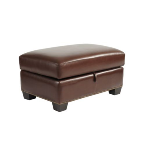 Tate Leather Storage Ottoman with Antique Brass Nailheads