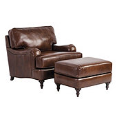 Wynne Leather Chair & Ottoman