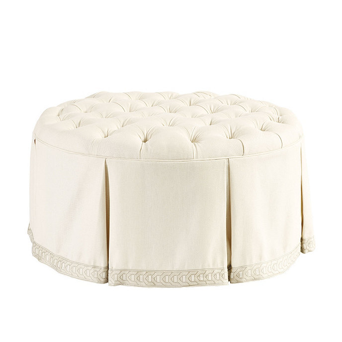 Peachy Hayes Round Tufted Ottoman Suzanne Kasler Parchment Linen Ncnpc Chair Design For Home Ncnpcorg