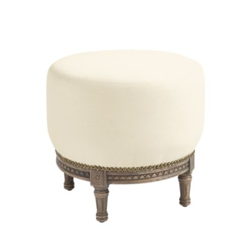 French Tuffet Ottoman with Brass Nailheads