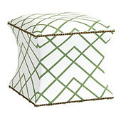 Courbe Ottoman in Imperial Trellis Green with Brass Nailheads - Stocked