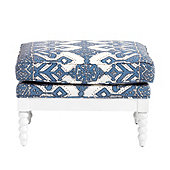 Shiloh Spool Ottoman in Mallory Blue with White Frame - Stocked