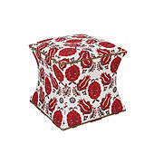 Courbe Ottoman In Holly Red with Brass Nailheads and Black Finish - Stocked