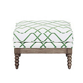 Shiloh Spool Ottoman in Imperial Trellis Green with Latte - Stocked
