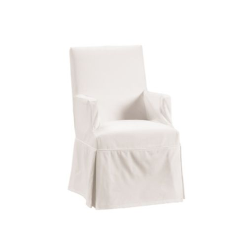 Off-White Twill Parsons Armchair Slipcover -