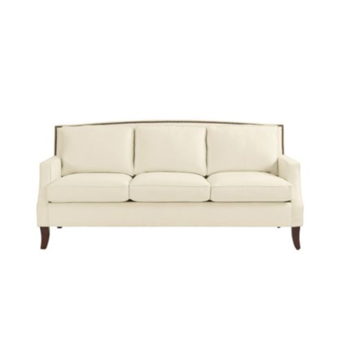 Carlton Upholstered Sofa with Brass Nailheads