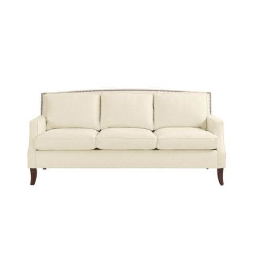 Carlton Upholstered Sofa with Pewter Nailheads