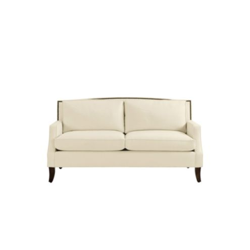 Carlton Upholstered Apartment Sofa with Brass Nailheads